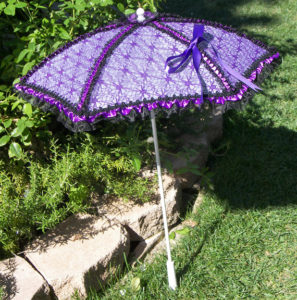 KC Dragonfly - Black and Purple Spider Web parasol - full standing up